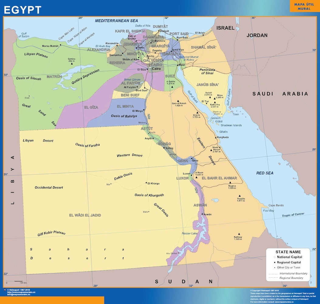Picture of: Egypt Wall Map Laminated Wall Maps Of The World