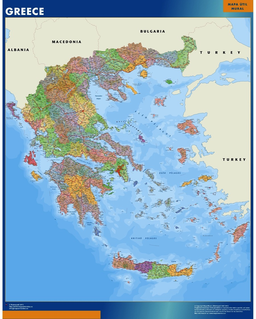 Greece Wall Map Laminated Wall Maps Of The World
