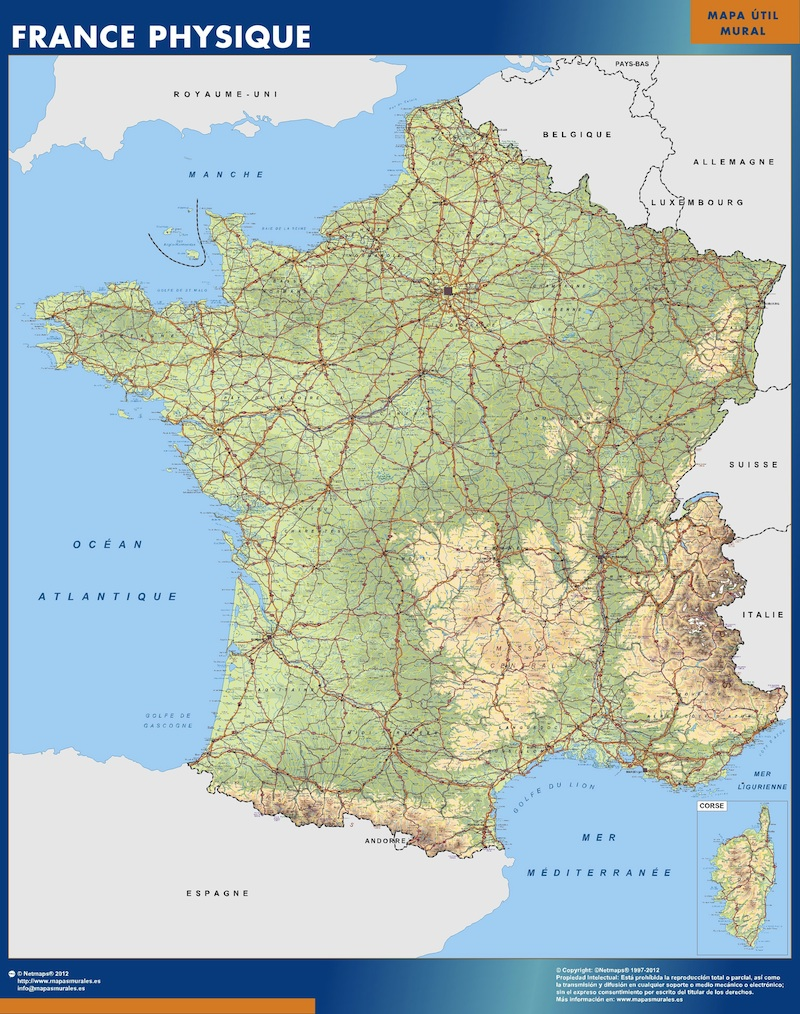 Map of France physical