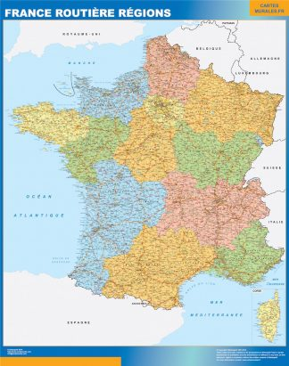 Map Of France Roads.Generals Laminated Wall Maps Of The World