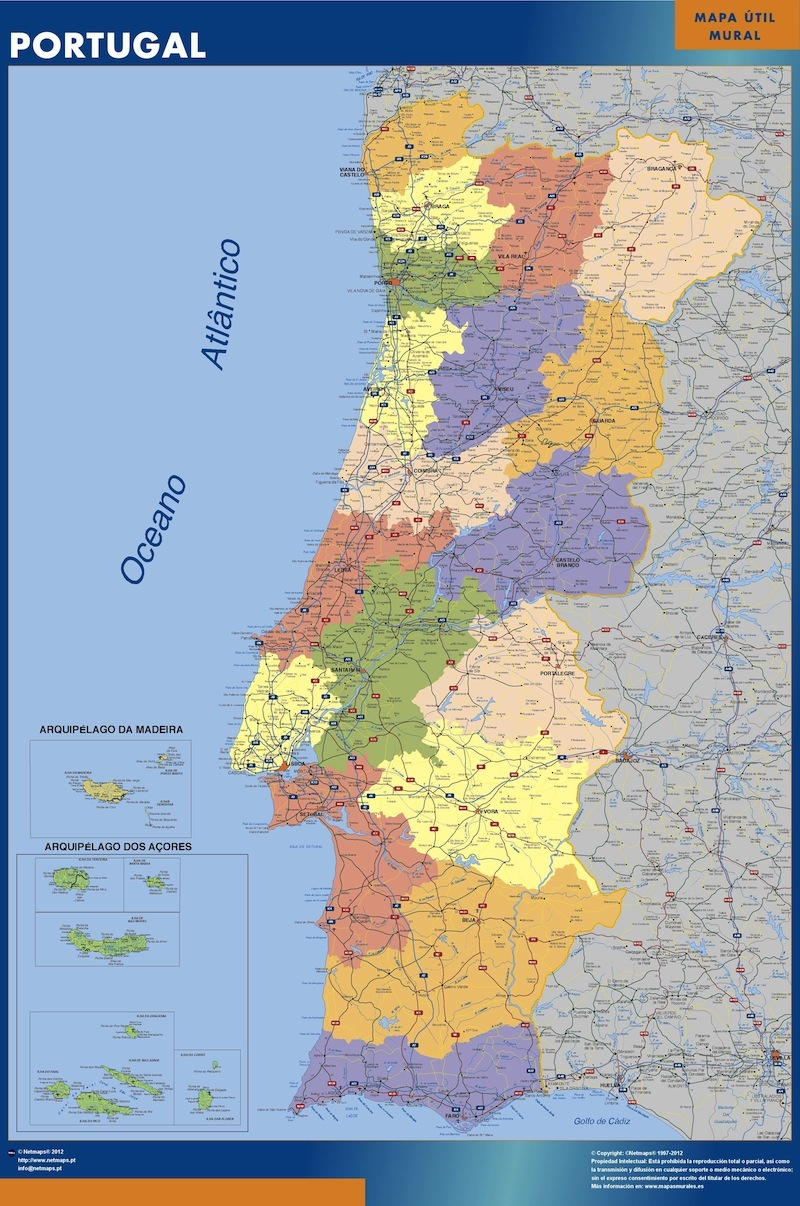 Portugal Wall Map Laminated Wall Maps Of The World