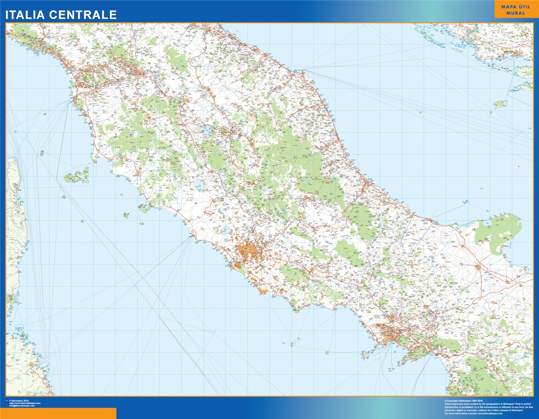 Road Map Of Italy.Road Map Italy Central