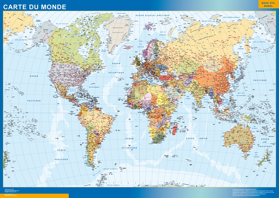 Map Of World France.World Wall Map French